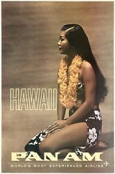 Original Vintage Poster Hawaii Pan Am World's Most Experienced Airline Travel Ol