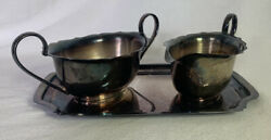 I. Vintage Epns Silver Plated Sugar Bowl And Creamer Set With Tray