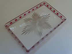 Antique Plater Dish For Bottle Glass Crystal Red Baccarat France Pattern F.266