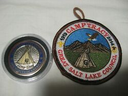 2014 Bsa Boy Scout Camp Tracy Salt Lake Council Patch And Challenge Coin Lot