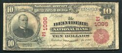 1902 10 Belvidere National Bank New Jersey National Currency Ch. 1096 Unique