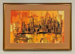 An Original Vintage Cityscape Serigraph Abstract Framed Art Print