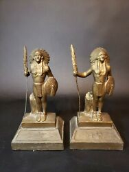 Rare Antique Signed Paul Herzel Native American Indian Chief Bookends Lead Base