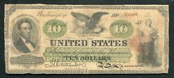 Fr. 93 1862 10 Ten Dollars Legal Tender United States Note Scarce Issue
