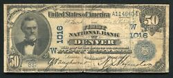 1902 50 Db First National Bank Denver, Co National Currency Ch 1016 Unique