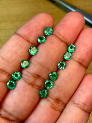 12 Pieces Top Quality Natural Minor Oil Zambia Emerald 5mm Round Loose Gemstone