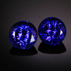 4.3cts Aaa+ Color Natural 8mm Round Purple Blue Tanzanite Pair Loose Gemstone