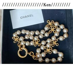 Necklace Auth Coco Mark Logo Chain Vintage Rare Four-leaf Pearl Long F/s
