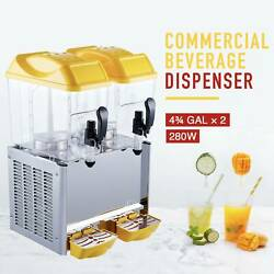 280w Commercial Drink And Beverage Dispenser Soda Ice Tea Water Juice 2x4.75 Gal