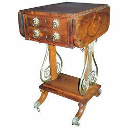 Antique English Regency Rosewood Sewing Work Table Circa 1820