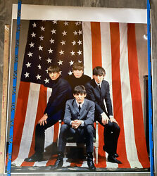 Rare 42 X 36 Capitol Records Color Photo Of The Beatles By An American Flag