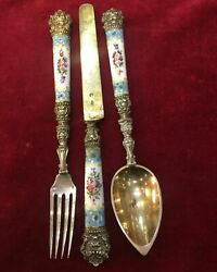 Vintage Silver Enameled Travel Set Consisting Of Spoon Fork And Knives Stamped