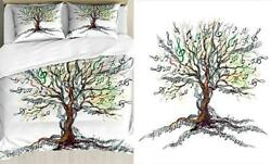 Music Duvet Cover Set, Musical Tree Autumnal Clef Trunk Queen White Brown
