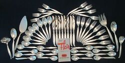 54 Piece Set Service 8 Vintage 1847 Rogers Intand039l Silverplate Flair Pat. Lovely