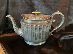Antique Rare H Andh Andsons Sheffield Silver Plate Teapot Victorian Engraved Finial