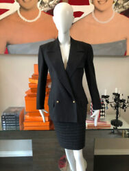 Gianni Versace Couture Size 40 Gray Wool Pinstripe Skirt Suit 2838-4-6221