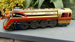Vintage Tin Toy Large Train Displays Well With Nice Colours And Shape