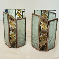 Pair Of Partylite Rock Pebble Glass Mirror W/copper Frame Triangle Sconce 7x4.5