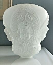 Antique Consolidated Frosted Glass Gwtw Lamp Base, Cherub Baby Face, Lamp Part