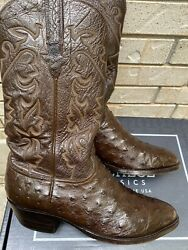 Lucchese Classics Cigar Brown Entire Cowboy Boot Full Pin Ostrich 11 Ee Wide