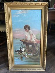 Oil Painting 1800s Young Girl With Doll On Dock Looking At Ducks