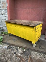 1940s Industrial Royal Metal Work Bench Kitchen Island Tv Console Store Counter