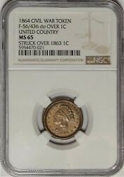 56/436 Do Over 1863 Indian 1c Patriotic Civil War Token Ngc Ms 65 United Country