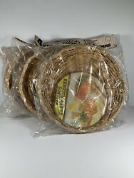 Vintage Paper Plate Holders Bamboo Wicker Rattan 3 Sets Of 4 Nos 8/9.5  12
