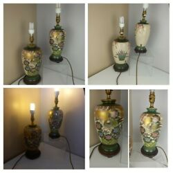 Vintage - Pair Of Chinese Green Gold Lamps Bird Of Paradise Ceramic Wood Brass