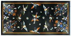 4and039x2and039 Antique Black Marble Center Coffee Bird Table Top Room Decor Inlay Lapis