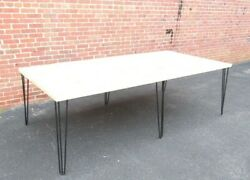 Large Reclaimed Gym Floor Kitchen Office Finger Block Maple Table Hairpin Legs