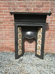 Antique English Victorian Cast Iron Tiled Combination Fireplace 1880s