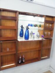 Mid Century Modern Teak Mirrored Fold Out Wall Bar Cabinet 1970s Mcm