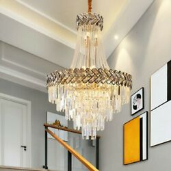 Modern Ceiling Chandelier Golden Luxury Crystal Dimmable Living Room Hotel Lamp