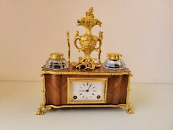 George Moser Desk Top Inkwell Clock With Paul Garnier Chaff-cutter Escapement C1