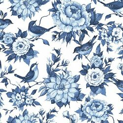 Birds and Flowers Blue and White Chinoiseries Fabric Fabric By The Yd.