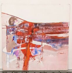 Large 4' Vintage Joel Durand Modernist Mcm Abstract Painting Red And Pink Figural