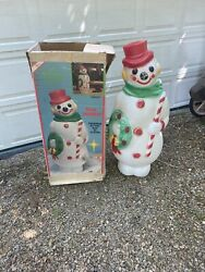 """Vintage Empire Lighted Christmas Snowman Wreath/candy Cane Blow Mold 46"""" 1968"""