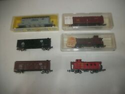 Lot Of 6 N Scale / Gauge Freight Cars Cattle Chemical Caboose Bando Etc