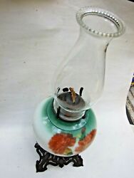 Antique Oil -kerosene Table Lamp With Red Roses Floral Decorations 1900's Vgc