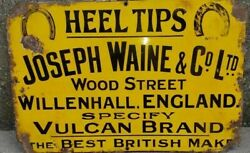 Vintage Old 'joseph Waine And Co. Ltd' Rare Enamel Signboard Collectible England