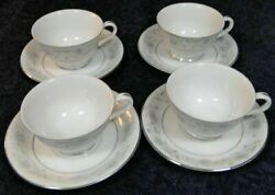 English Garden Set Of 4 Fine China Of Japan Footed Tea Cup Saucer Sets 1221 Mint