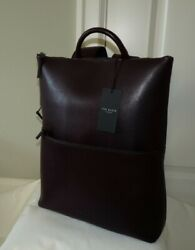 Ted Baker Menand039s Baythe Saffiano Leather Backpack Large Oxblood