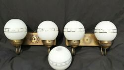 Pair Of Vintage Brass Or Cast Metal Antique Globe Wall Sconce Light Fixtures