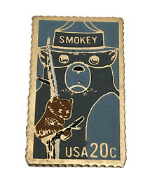 Vtg Smokey Bear Postage Stamp Pin Usa 1984 20c The March Co A808