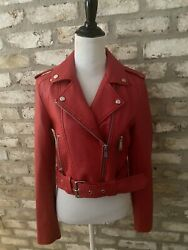 Darling Pistola Red Leather Jacket Sz S