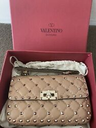 Valentino Rockstud Quilted Top Handle Bag Small Beige