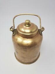 Antique 1900'c Old Brass Hand Carved Indian Milk/oil Can Storage Box Nh5704