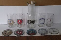 History Of The Mercedes Logo Drink Glass And Decanter Set With Matching Coasters
