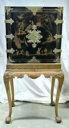 Cabinet Chinois. Bois Laque Polychrome. Finitions Bronze. Vers 1930.